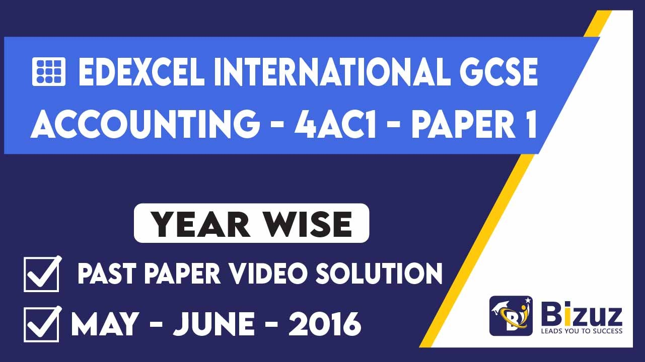 Edexcel IGSCE Accounting May-June2016